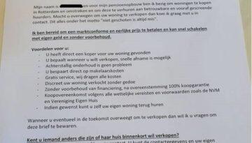 Let op: Vreemde brief in omloop in Vreewijk